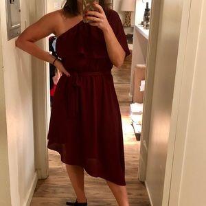 Burgundy one shoulder dress
